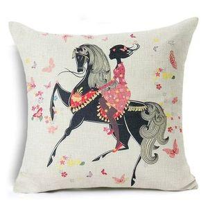 Home Decor Pink Girl & Horse Pillow Cover